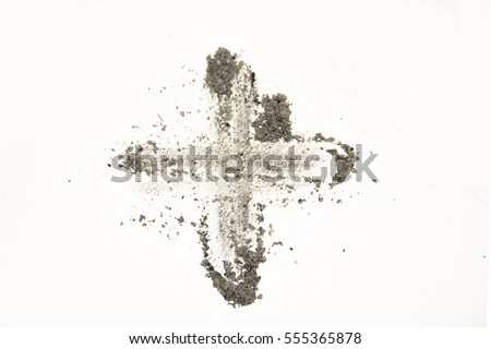 Cross made of ashes, Ash Wednesday, Lent season vintage abstract background Royalty-Free Stock Photo #555365878