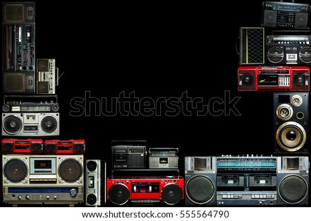 Vintage frame of radio boombox of the 80s #555564790