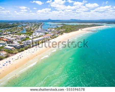 An aerial view of Noosa on Queensland's Sunshine Coast, Australia #555596578