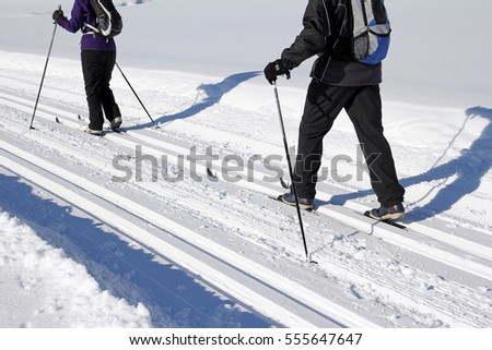 Winter sports in Bavaria - Skating and cross country ski trail. A women and a man at cross-country skiing #555647647