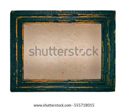 Blank old brown paper in picture frame isolated on white background