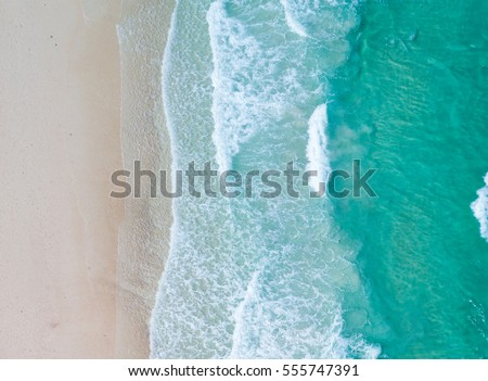 Aerial view. Top view.amazing nature background.The color of the water and beautifully bright.Azure beach with rocky mountains and clear water of Thailand ocean at sunny day. #555747391