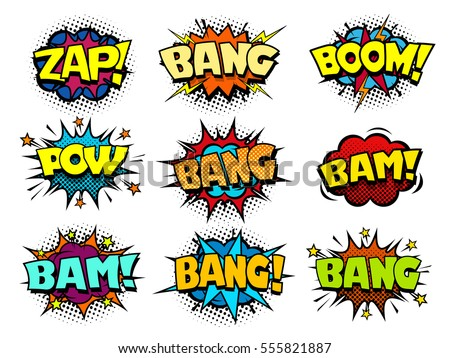 Comic book speech bubbles, cool blast and crash sound effect, halftone print texture imitation