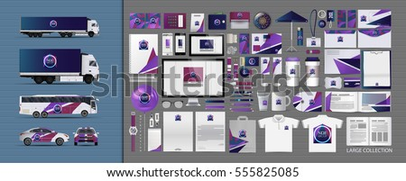 Corporate identity template set. Branding design. blank template. Business stationery mock-up with logo. large collection. Royalty-Free Stock Photo #555825085