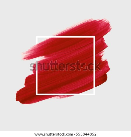 Logo brush painted watercolor background. Art abstract brush paint texture design acrylic stroke over square frame vector illustration. Perfect design for headline and sale banner.  Royalty-Free Stock Photo #555844852