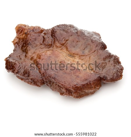 Cooked fried pork meat isolated on white background cutout. #555981022
