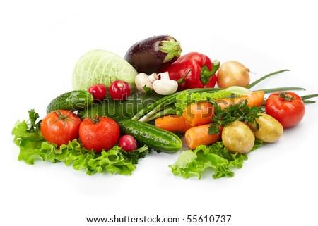 fresh vegetables on the white background #55610737