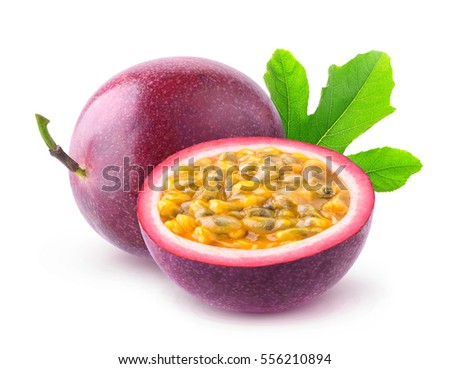 Isolated passionfruits. One and a half passion fruits (maracuya) isolated on white background with clipping path Royalty-Free Stock Photo #556210894