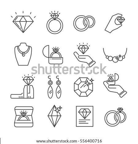 Set of jewelry Related Vector Line Icons. Includes such Icons as diamond, ring, wedding ring, bracelet, earrings, necklace, jeweler, jewel