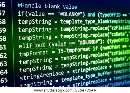 Software developer programming code. Abstract computer script code. Programming code screen of software developer. Software Programming Work Time. Code text written and created entirely by myself. #556479544