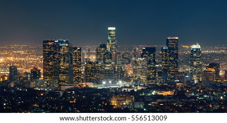 Los Angeles downtown buildings at night Royalty-Free Stock Photo #556513009