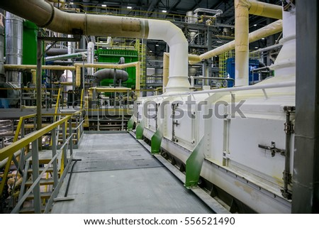 Voronezh, Russia - April 21, 2015: Voronezh Synthetic Rubber Plant, Chemical factory, production of thermoplastic on April 21, 2015, in Russia  #556521490