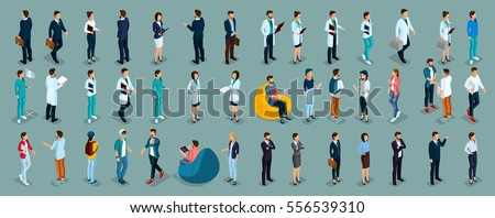 Trend Isometric people of different professions, hospital staff, surgeon, doctor, nurse, freelancers, business woman and businessman in suits insulated. Vector illustration.