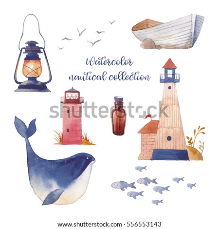 Watercolor nautical set. Hand drawn cartoon elements: sea boat, lighthouse, bottle, fishes, whale, sea gull, lantern. Isolated design objects on white background. Nautical collection