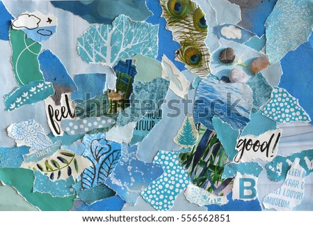 Creative Atmosphere art mood board collage sheet in color idea  blue ,green, aqua and turquoise made of teared magazines and printed matter paper with colors and textures