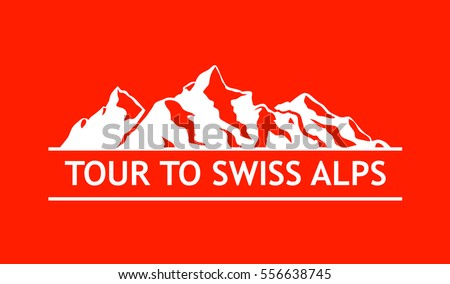 White Logo of Swiss Mountains isolated on White Background. Vector Emblem with Alps of Switzerland. Royalty-Free Stock Photo #556638745