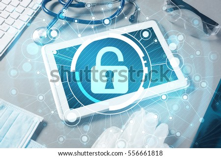 White tablet pc and access security concept on media screen #556661818