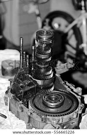 Old sewing machine from the inside #556665226