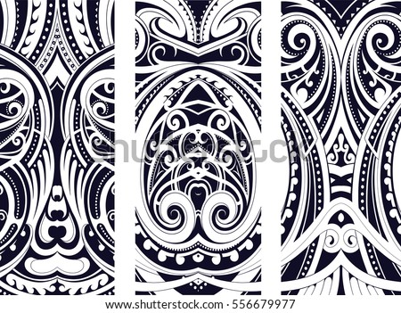 Set of Maori style ornaments. Ethnic themes can be used as body tattoo or ethnic backdrop. Royalty-Free Stock Photo #556679977