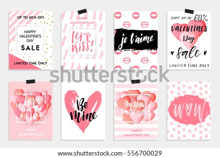 Collection of pink, black, white colored Valentine's day card, sale and other flyer templates with lettering.  Typography poster, card, label, banner design set. Vector illustration EPS10 Royalty-Free Stock Photo #556700029