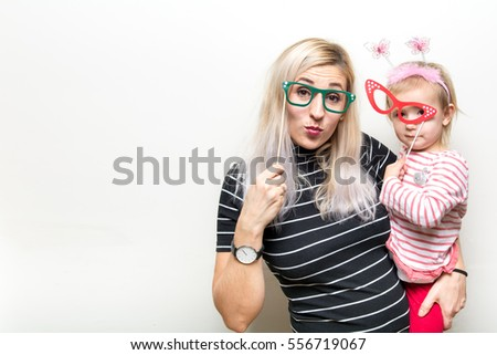 mom daughter funny costume Photo Booth white separated background props glasses paper
