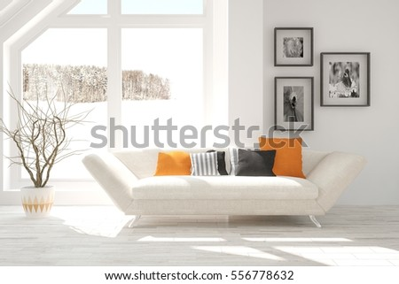 White room with sofa and winter landscape in window. Scandinavian interior design. 3D illustration #556778632