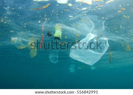 Plastic pollution in ocean Royalty-Free Stock Photo #556842991