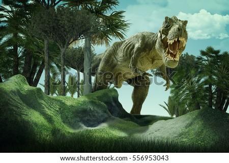 3D  rendering  scene of the giant dinosaur destroy the park