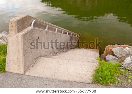 Diving stairways at Porteau Cove park, Vancouver, Canada. #55697938