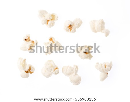 collection Pop corn isolated on white background. Royalty-Free Stock Photo #556980136