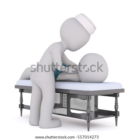 Cartoon 3d man having a massage from a masseuse at a spa or getaway resort as he lies on a table, rendered illustration on white