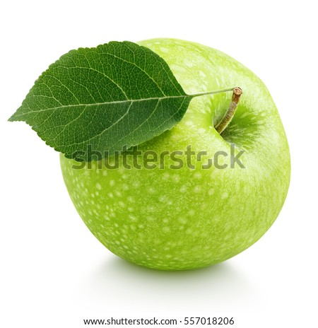 Single ripe green apple with green apple leaf isolated on white background. Apple and leaf with clipping path #557018206
