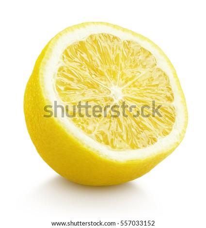 Single half lemon citrus fruit isolated on white background. One lemon half with clipping path #557033152