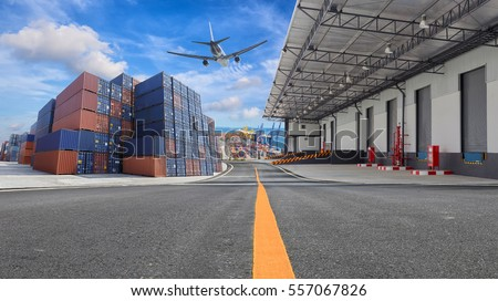 Management logistics of Industrial Container Cargo for Import Export business. Royalty-Free Stock Photo #557067826