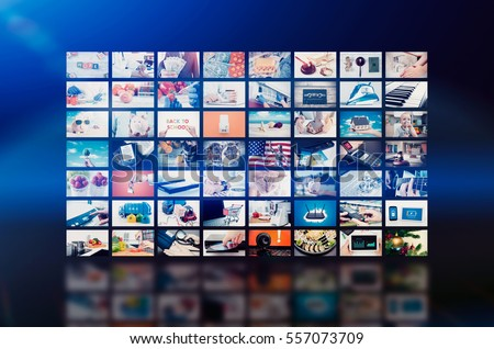 Multimedia video wall television broadcast. multimedia wall television video broadcast advertising background broadcasting concept #557073709