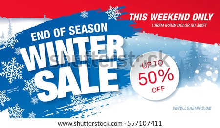 Winter sale banner, vector illustration Royalty-Free Stock Photo #557107411