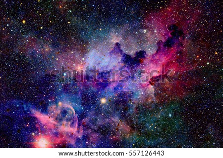 Nebula and galaxies in space. Elements of this image furnished by NASA. Royalty-Free Stock Photo #557126443