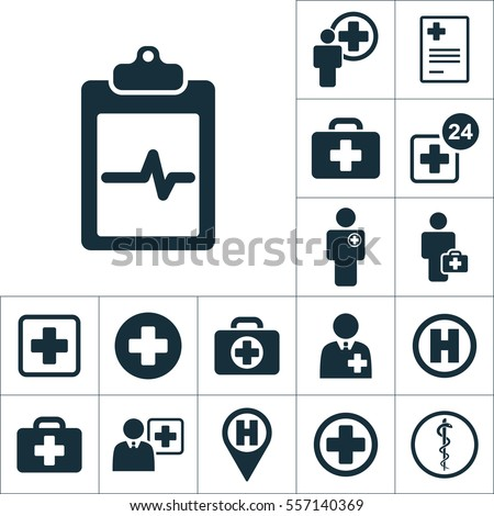 cardiology wave monitor report blank icon, medical signs set on white background