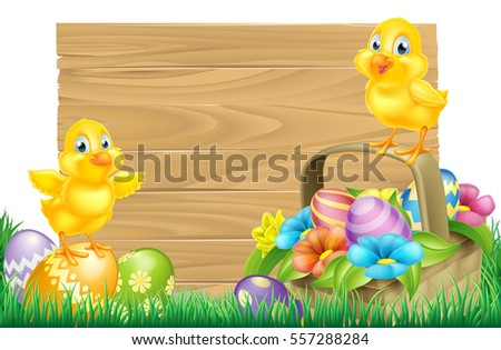 Isolated wooden Easter sign with Chick baby chicken birds, Easter Eggs, spring flowers and a basket in a field