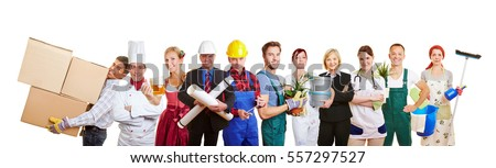 Group of many different profesions as teamwork and diversity concept Royalty-Free Stock Photo #557297527