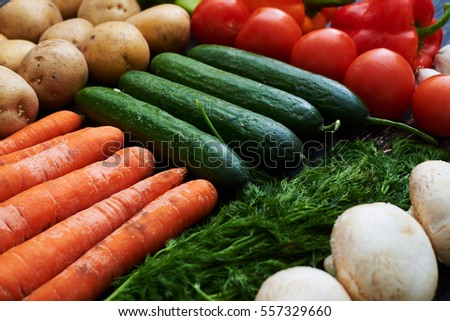 Side close-up of yummy vegetarian products lying on the table. Perfect assortment of farm fresh vegetables on wooden background, top view #557329660
