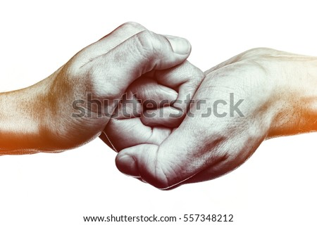 Male and female hand  united  in  handshake. That could mean help, guardianship, protection, love, care etc. This Image isolated for easy  transfer in your design. Royalty-Free Stock Photo #557348212