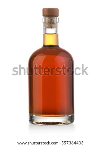 Full whiskey bottle isolated on white background with clipping path #557364403