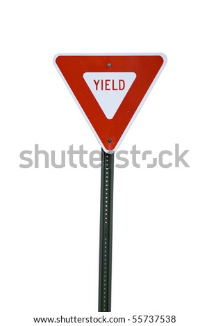 A red yield sign