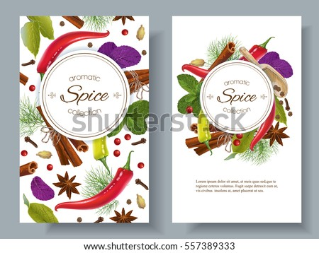 Vector spice vertical banners with various seasonings on white background. Red chili peppers, bay leaves, cinnamon and other spices. Design for packaging, spice shop, recipe web site, cooking book #557389333