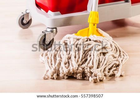 a professional mop bucket cart on a light wooden floor #557398507