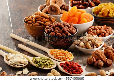 Composition with dried fruits and assorted nuts. #557400550