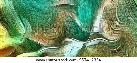 Abstract painting in vivid tints of green.