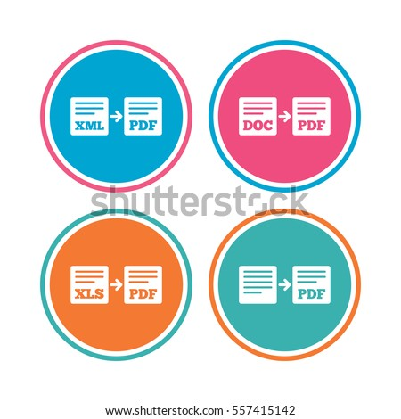 Export file icons. Convert DOC to PDF, XML to PDF symbols. XLS to PDF with arrow sign. Colored circle buttons.