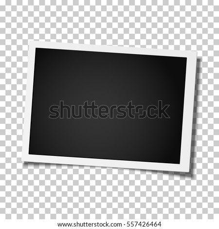 Retro realistic vector photo frame placed on transparent background. Template photo design. Royalty-Free Stock Photo #557426464